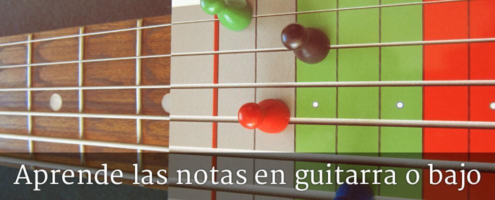 Para aprender las notas en la guitarra o el bajo